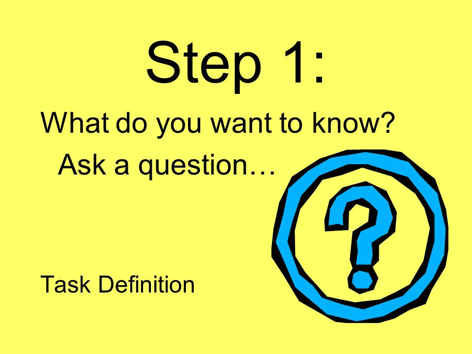 Step 1: What do you want to know Ask a question… Task Definition
