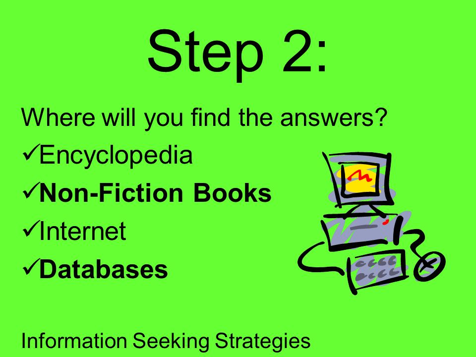 Step 2: Encyclopedia Non-Fiction Books Internet Databases