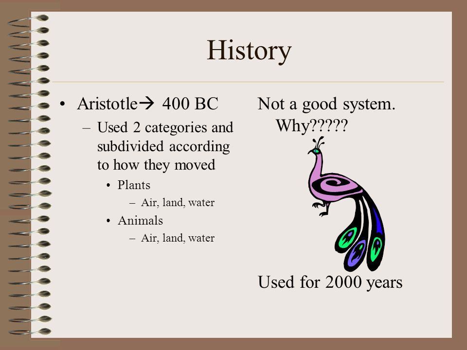 History Aristotle 400 BC Not a good system. Why
