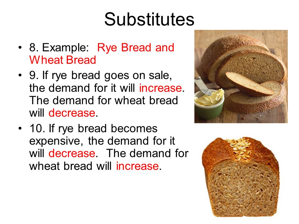 Substitutes 8. Example: Rye Bread and Wheat Bread