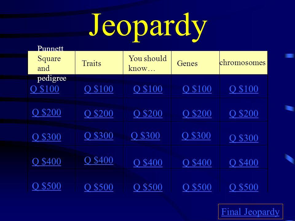 Jeopardy chromosomes Q $100 Q $100 Q $100 Q $100 Q $100 Q $200 Q $200