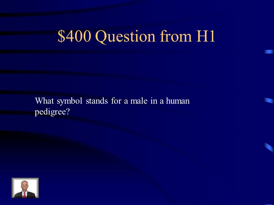 $400 Question from H1 What symbol stands for a male in a human pedigree