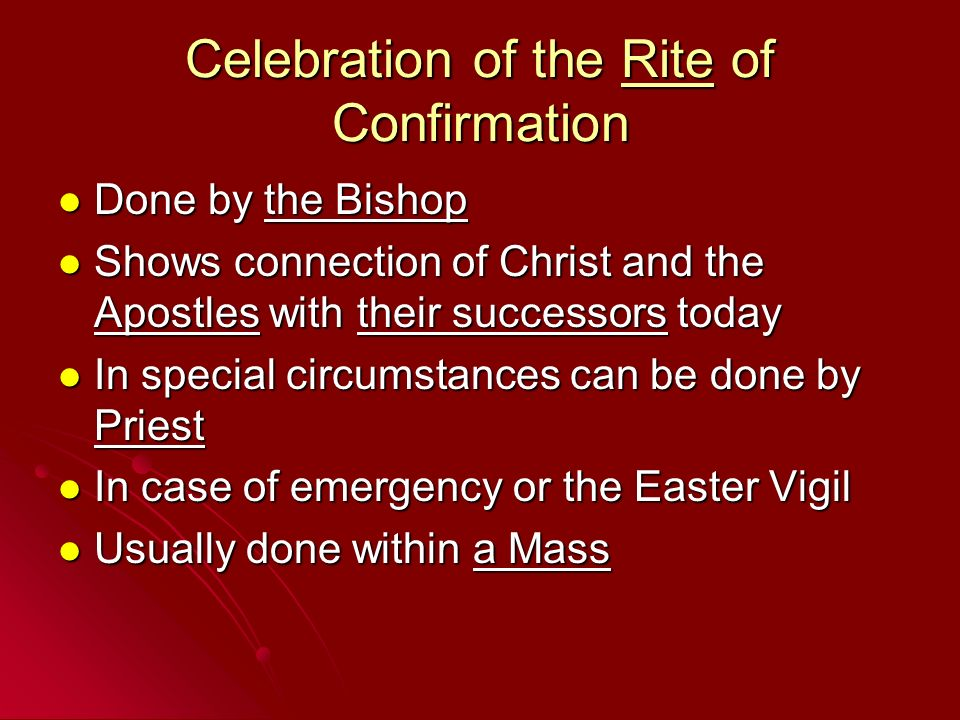 Celebration of the Rite of Confirmation