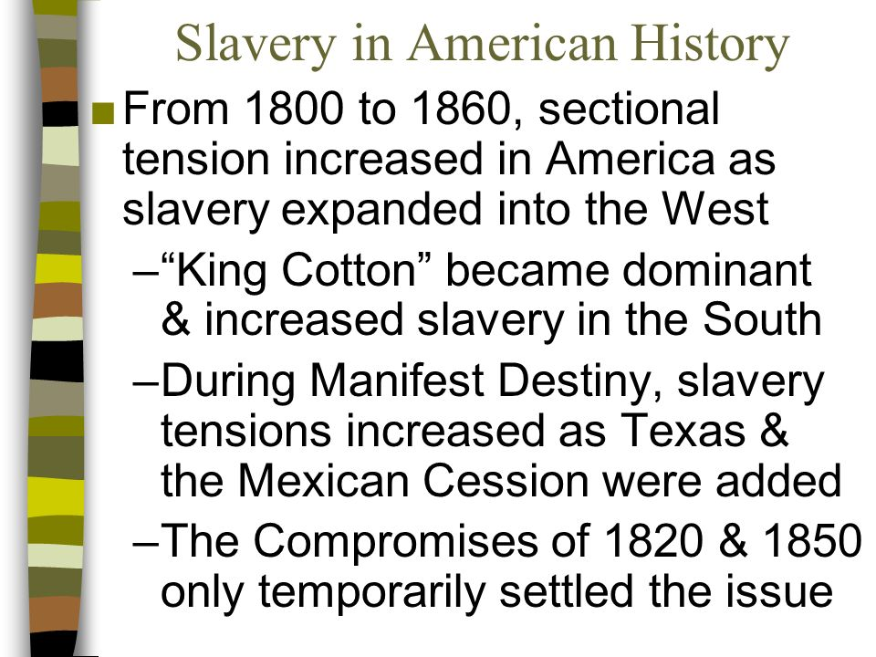 slavery a sectional issue This compromise kept slavery in the united states intact the founders also decided not to do anything about the issue of slavery for twenty years someone else.