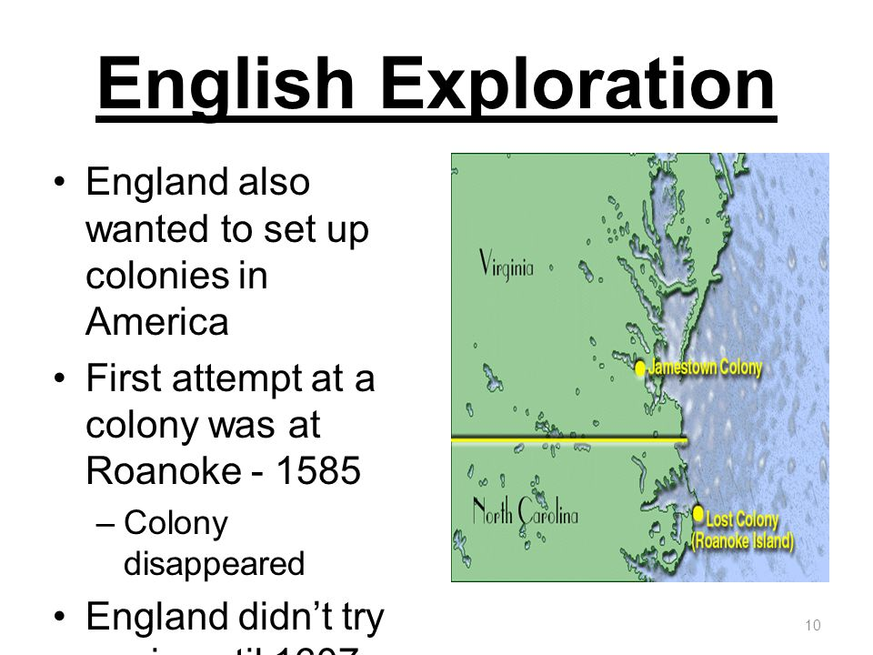 English Exploration England also wanted to set up colonies in America