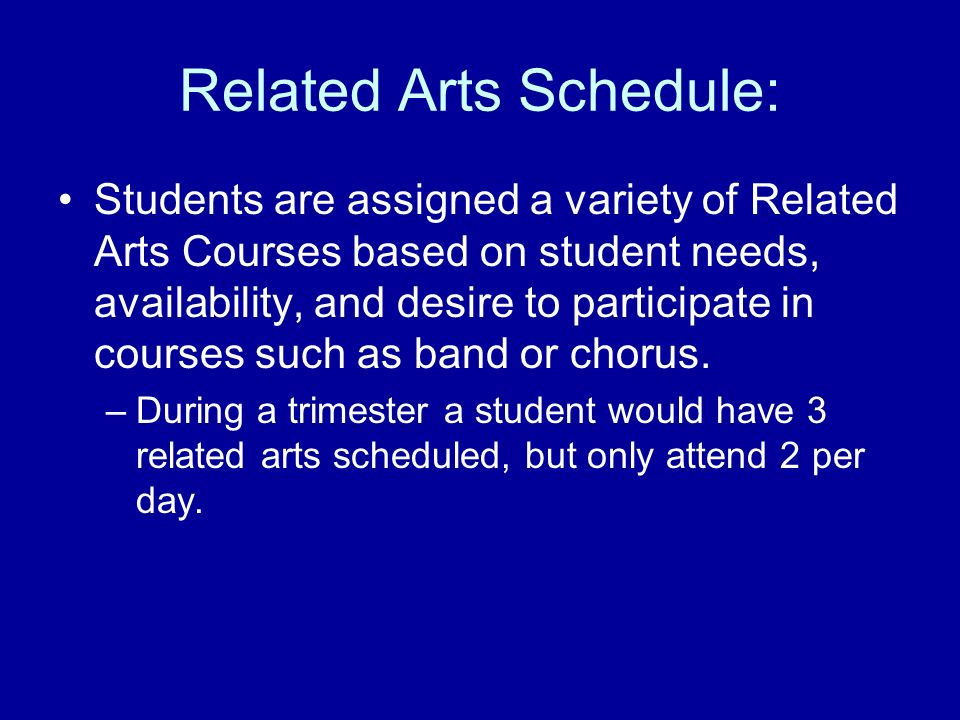 Related Arts Schedule: