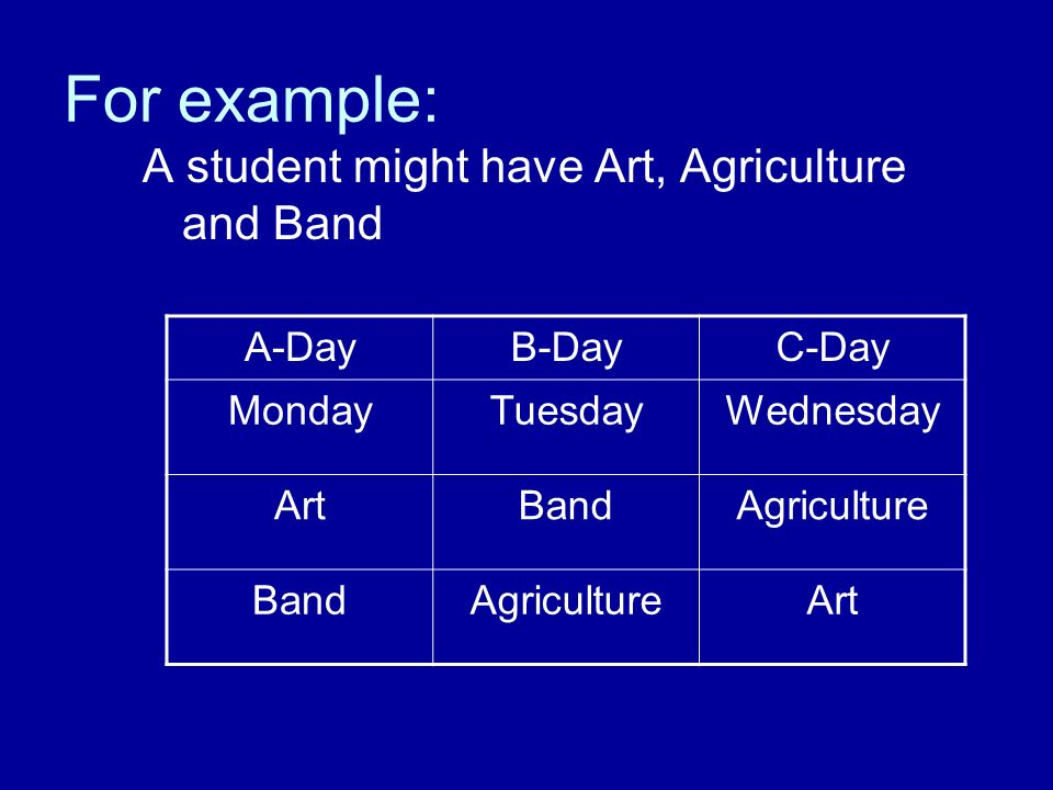 For example: A student might have Art, Agriculture and Band A-Day
