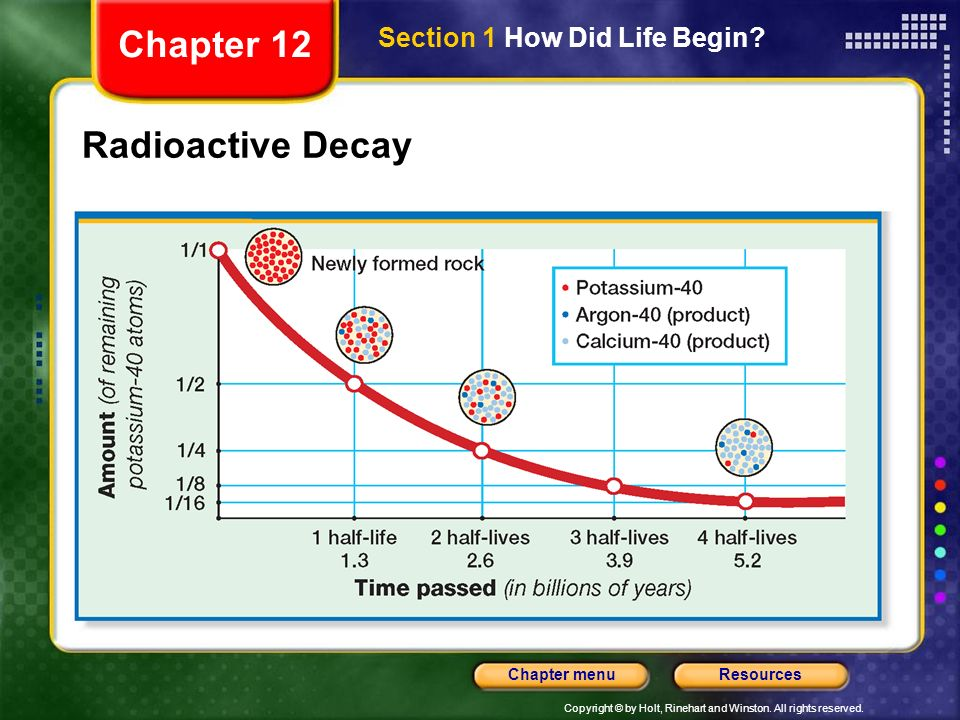 Chapter 12 Section 1 How Did Life Begin Radioactive Decay
