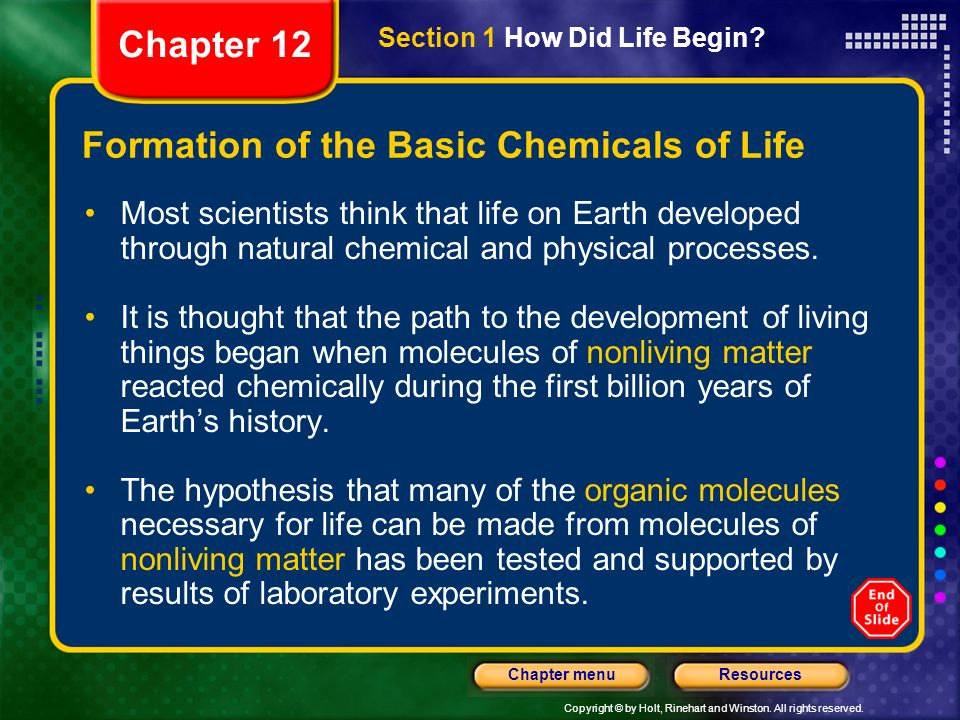Formation of the Basic Chemicals of Life