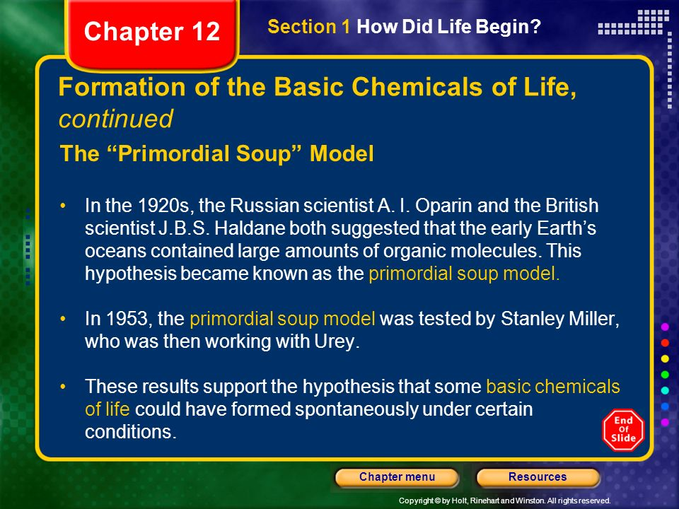 Formation of the Basic Chemicals of Life, continued