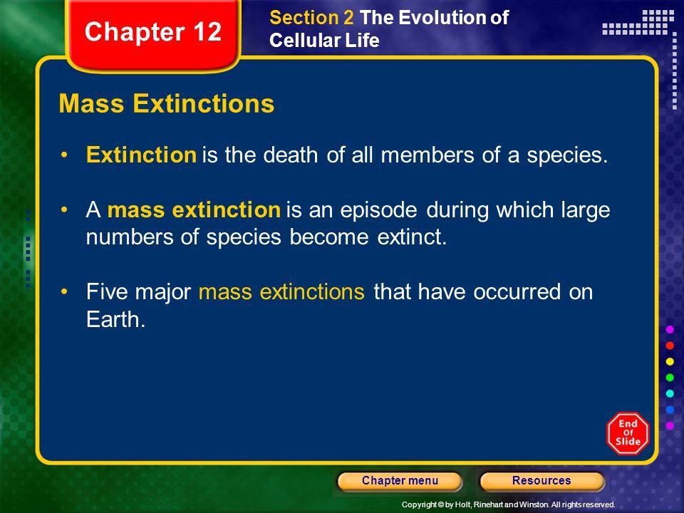 Chapter 12 Mass Extinctions