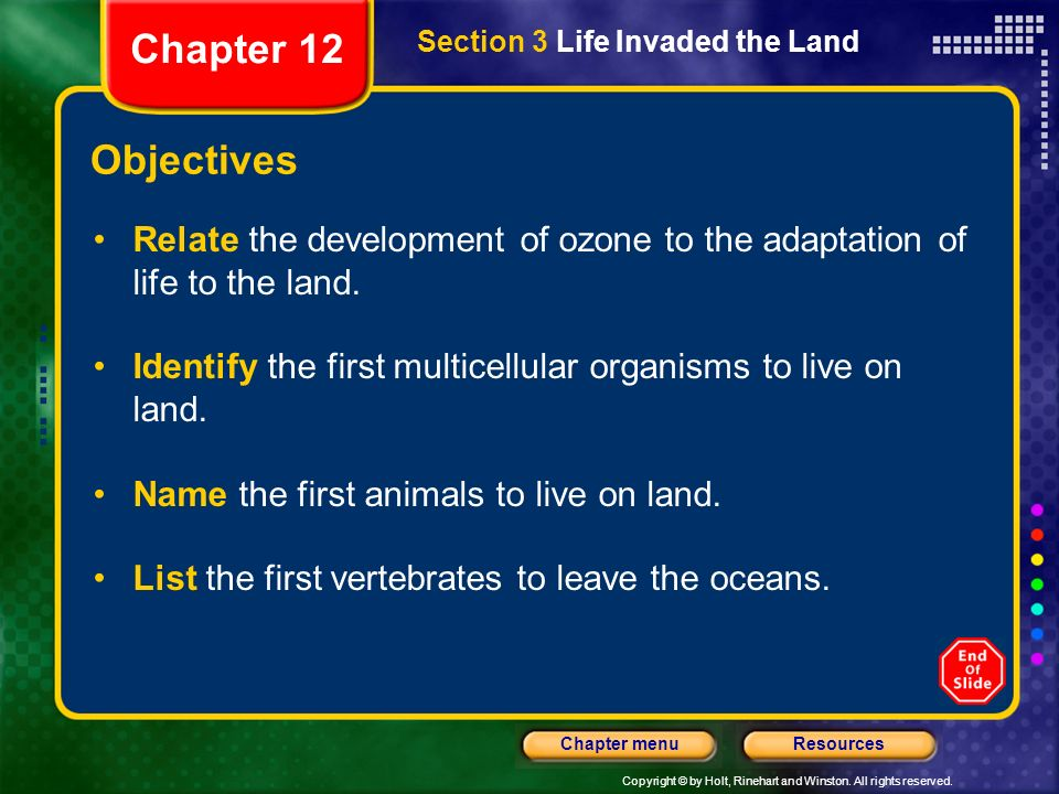 Chapter 12 Section 3 Life Invaded the Land. Objectives. Relate the development of ozone to the adaptation of life to the land.
