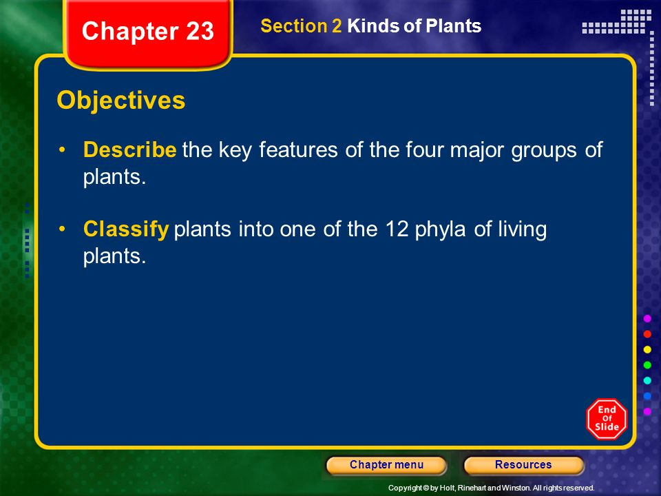 Chapter 23 Section 2 Kinds of Plants. Objectives. Describe the key features of the four major groups of plants.