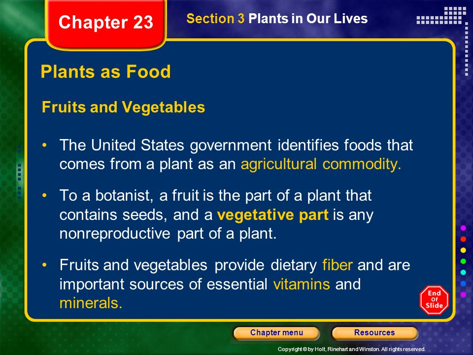 Chapter 23 Plants as Food Fruits and Vegetables
