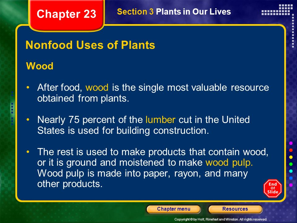 Chapter 23 Nonfood Uses of Plants Wood