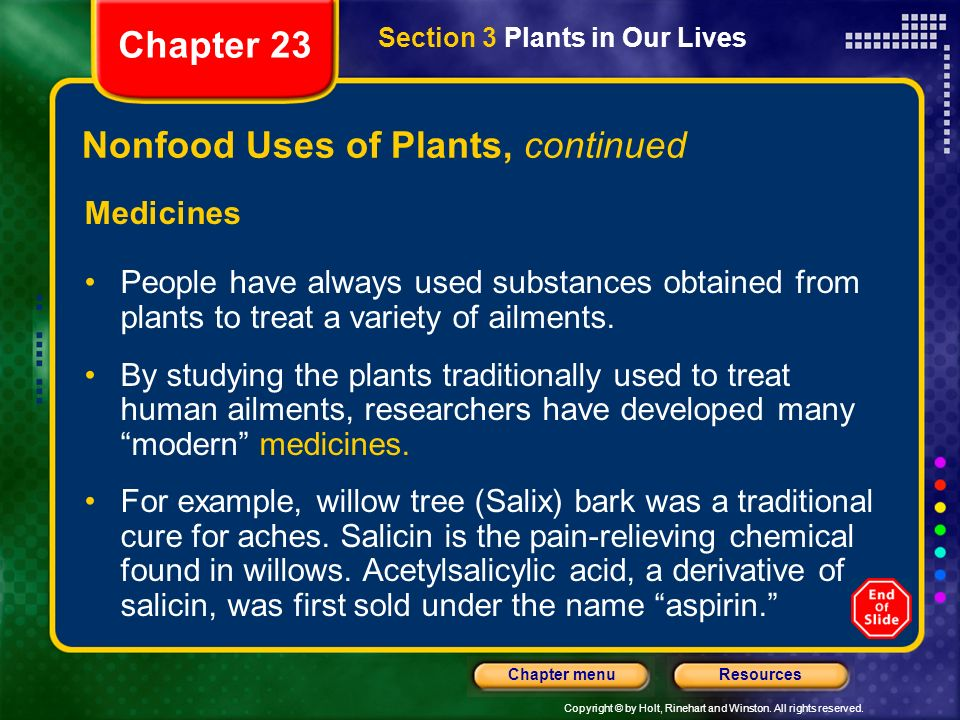 Nonfood Uses of Plants, continued
