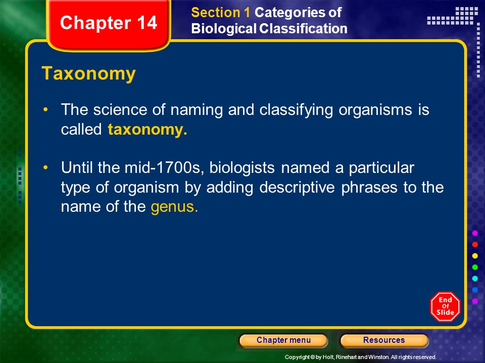 Section 1 Categories of Biological Classification