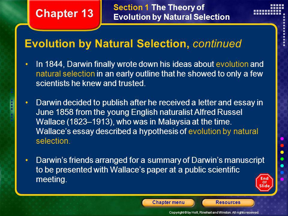 Evolution by Natural Selection, continued