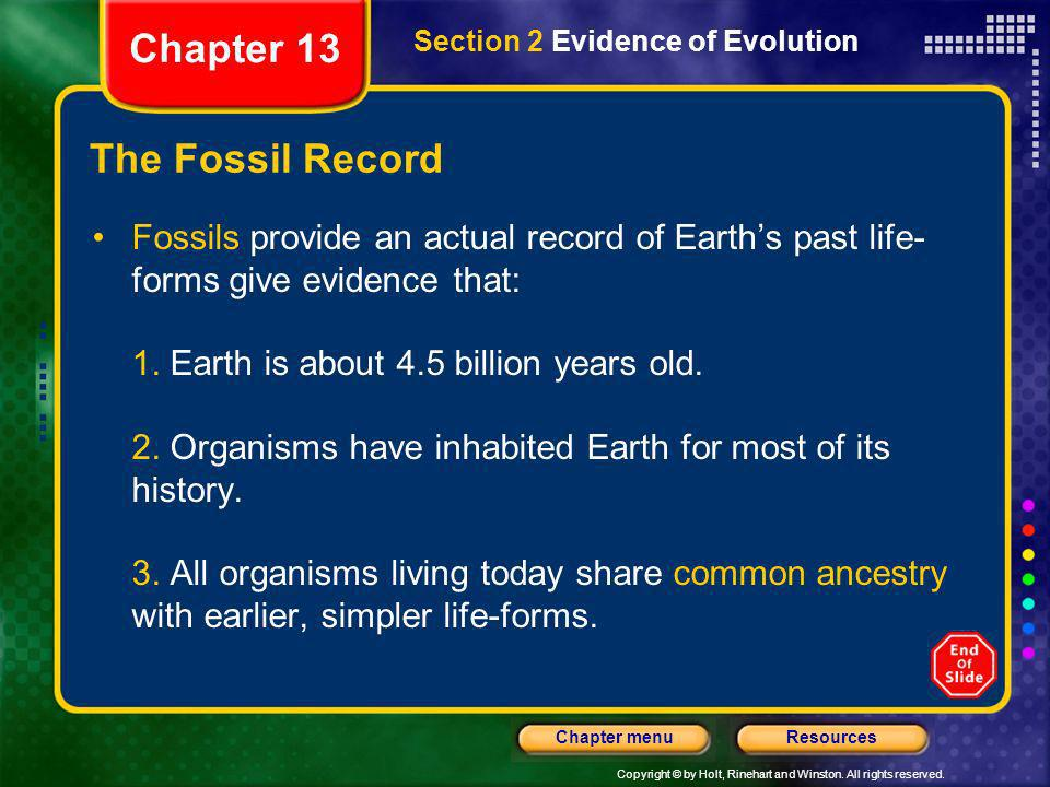Chapter 13 The Fossil Record