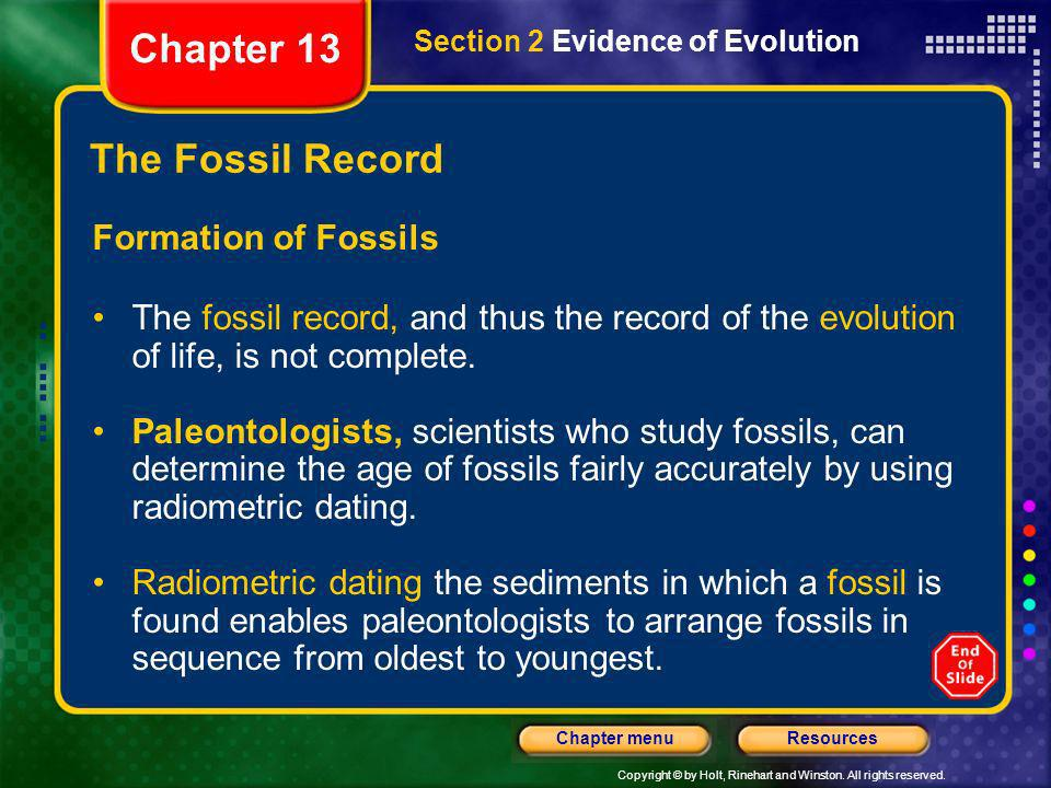 Chapter 13 The Fossil Record Formation of Fossils