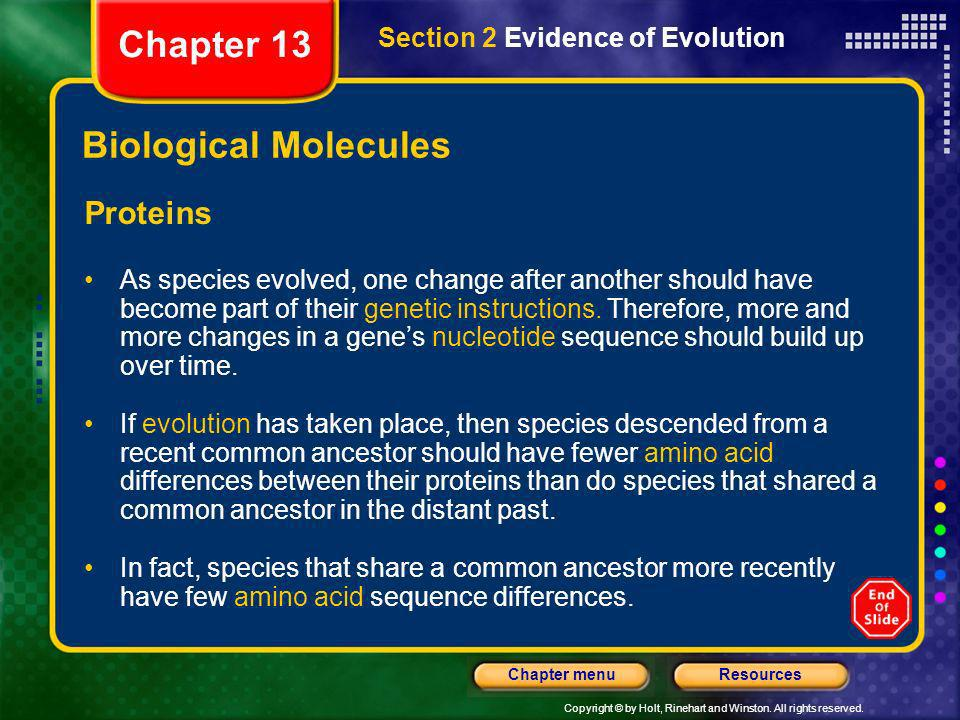 Chapter 13 Biological Molecules Proteins