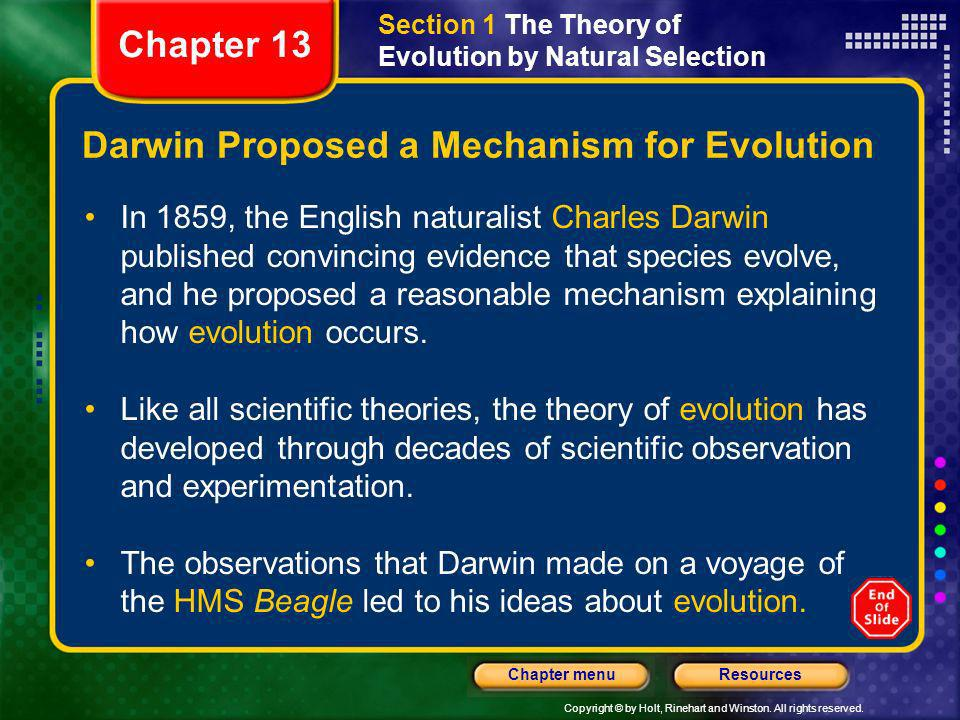 Darwin Proposed a Mechanism for Evolution