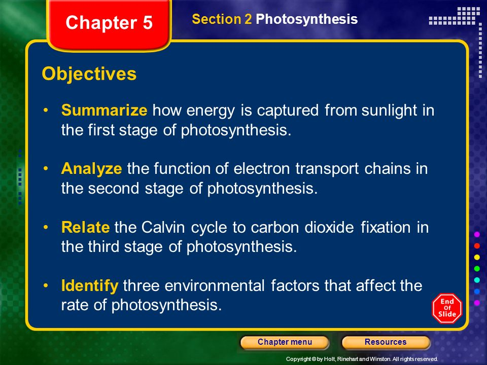 Chapter 5 Section 2 Photosynthesis. Objectives. Summarize how energy is captured from sunlight in the first stage of photosynthesis.