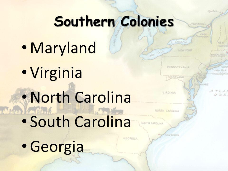 Maryland Virginia North Carolina South Carolina Georgia