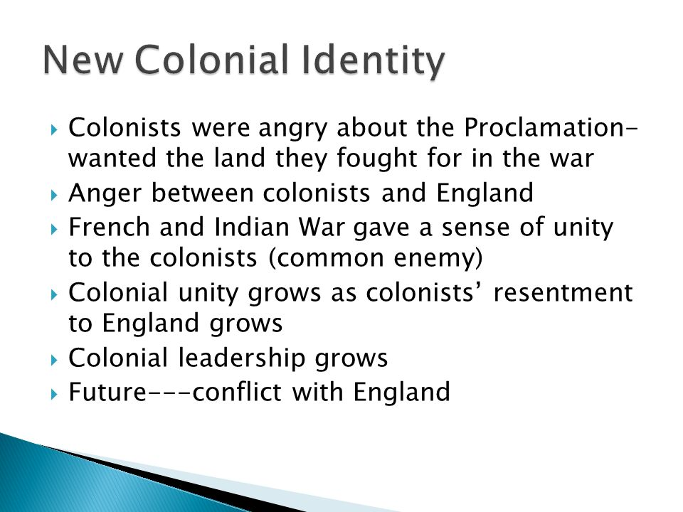 colonial unity and identity By the revolution, colonists had established an extent of identity and unity due to salutary neglect, communication, and incongruous beliefs the time period from settler's arrival at jamestown in 1607 to the french indian war is known as salutary neglect.