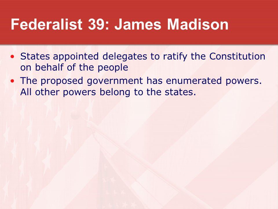 Federalist 39: James Madison