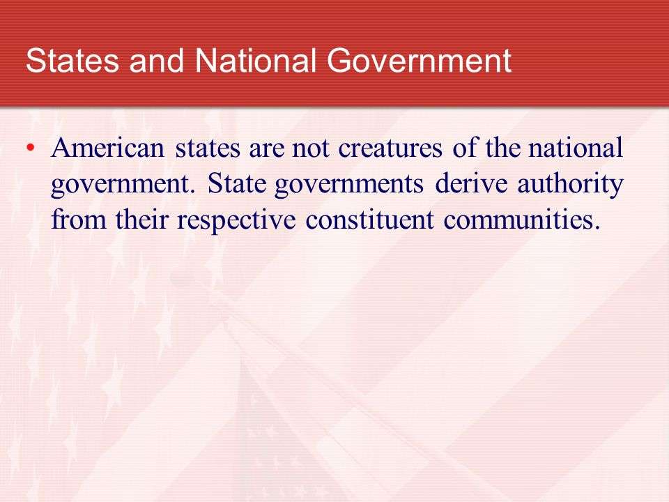 States and National Government