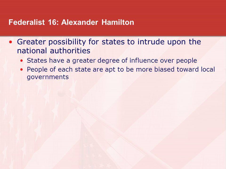 Federalist 16: Alexander Hamilton