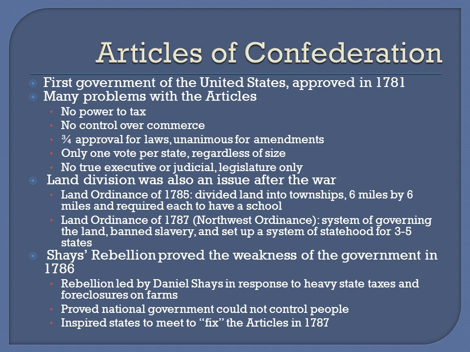 northwest ordinance articles of confederation vs The second continental congress adopted the articles of confederation and perpetual union, a set of laws to govern our new country northwest ordinance of.