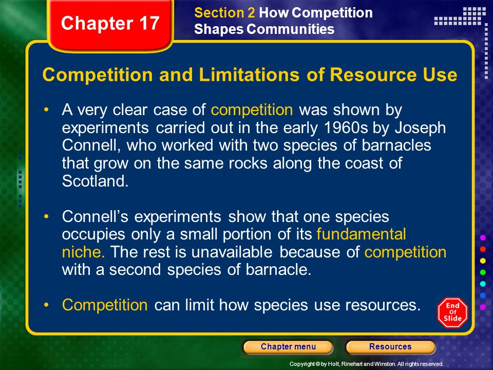 Competition and Limitations of Resource Use