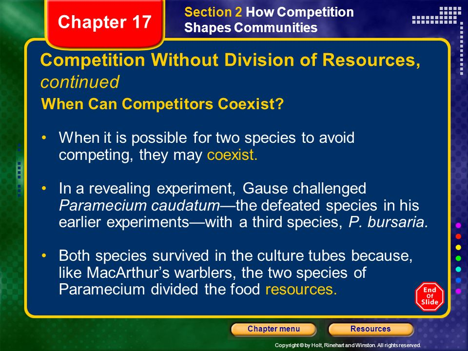 Competition Without Division of Resources, continued