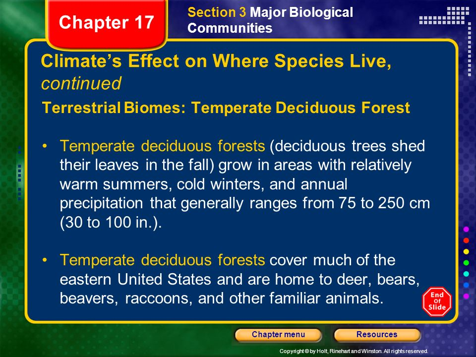 Climate's Effect on Where Species Live, continued