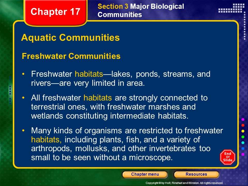 Chapter 17 Aquatic Communities Freshwater Communities