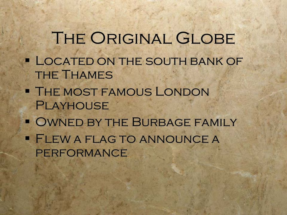 The Original Globe Located on the south bank of the Thames