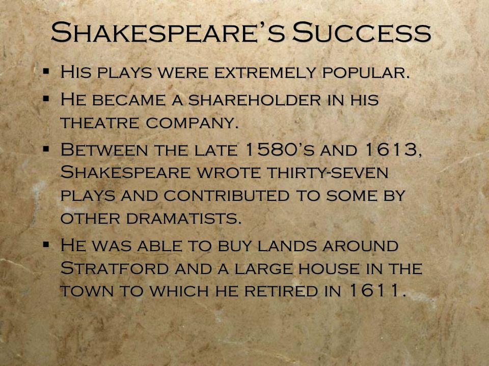 Shakespeare's Success