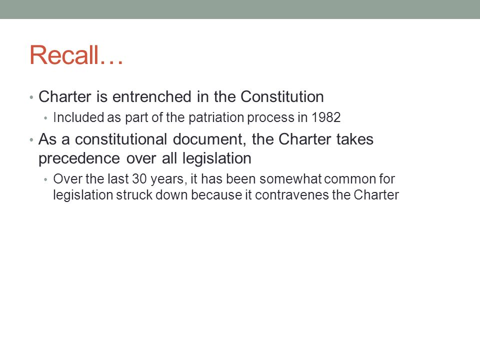 Recall… Charter is entrenched in the Constitution