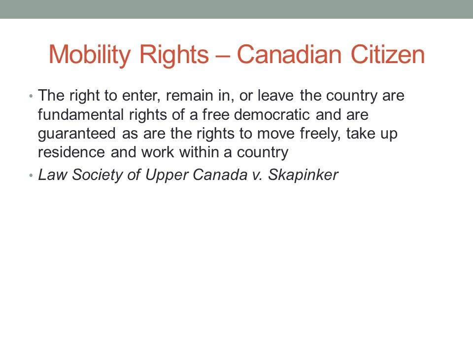 Mobility Rights – Canadian Citizen
