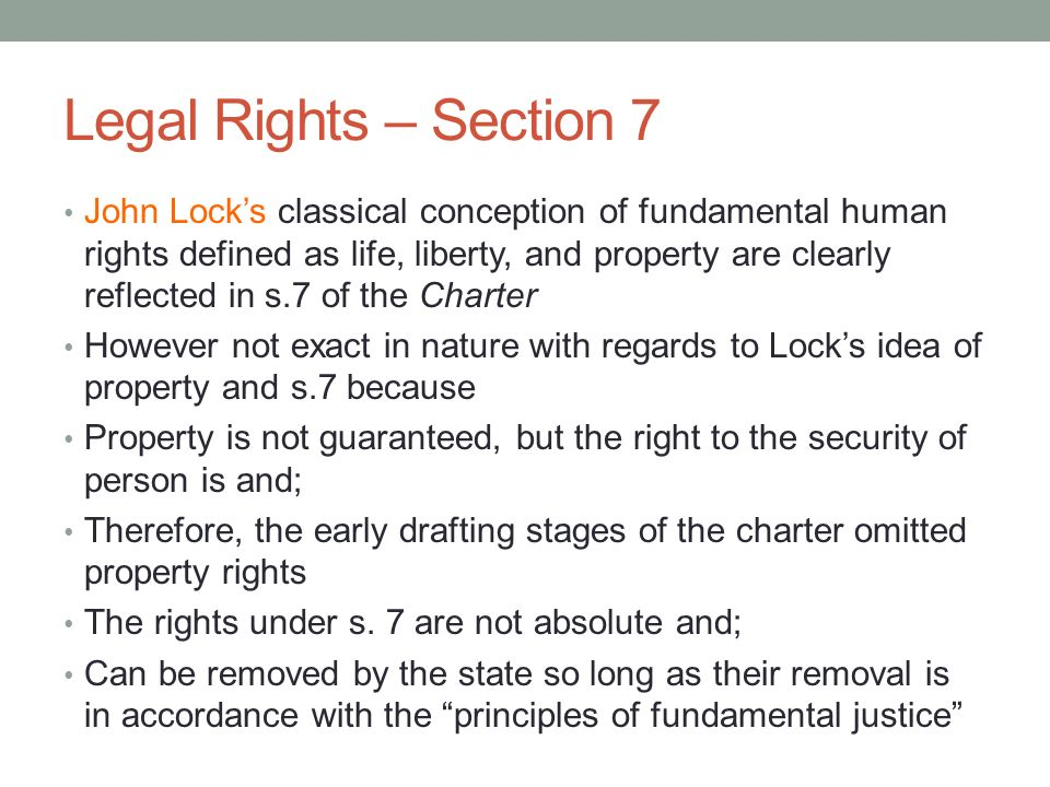 Legal Rights – Section 7