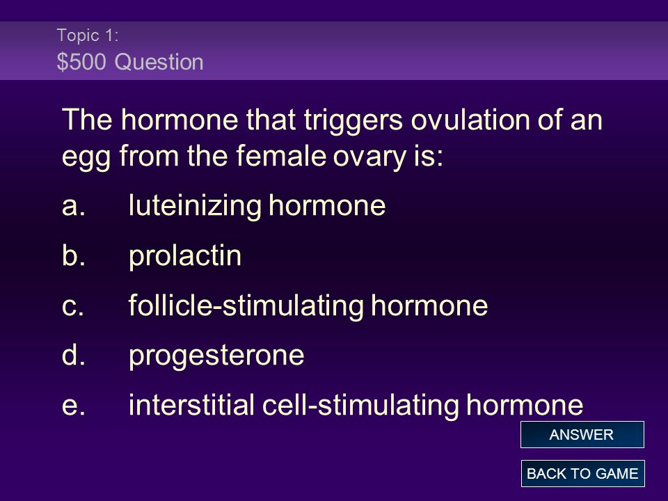 c. follicle-stimulating hormone d. progesterone