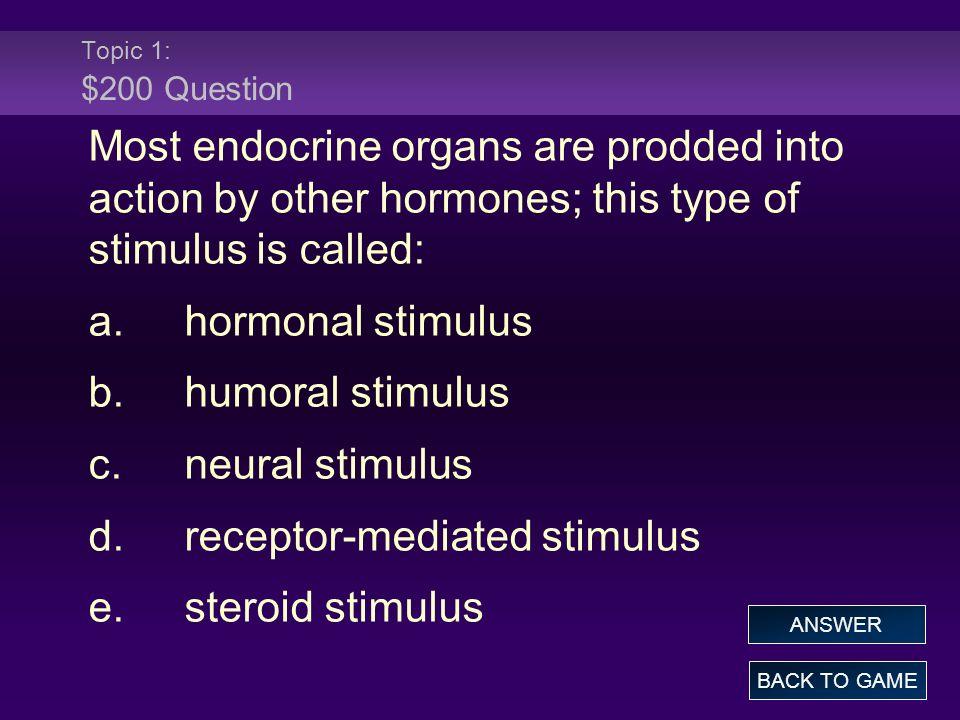 d. receptor-mediated stimulus e. steroid stimulus