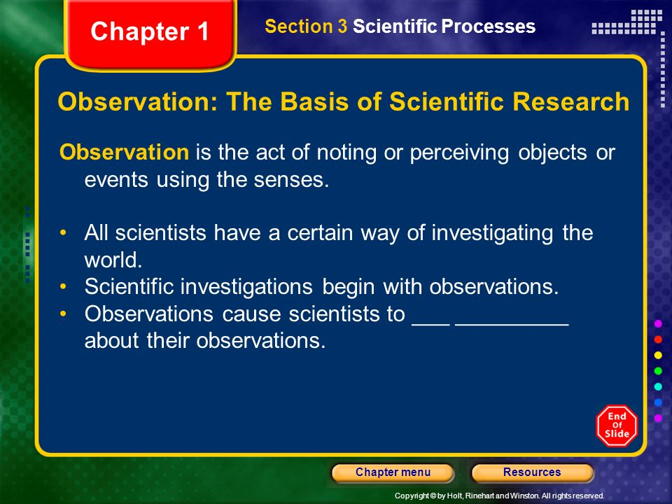Observation: The Basis of Scientific Research