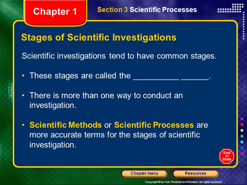 Stages of Scientific Investigations