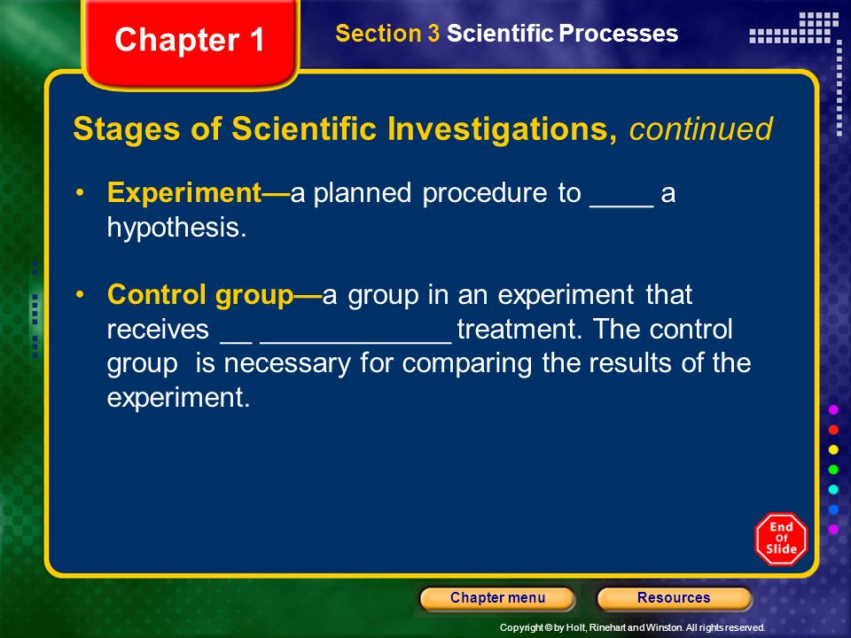 Stages of Scientific Investigations, continued