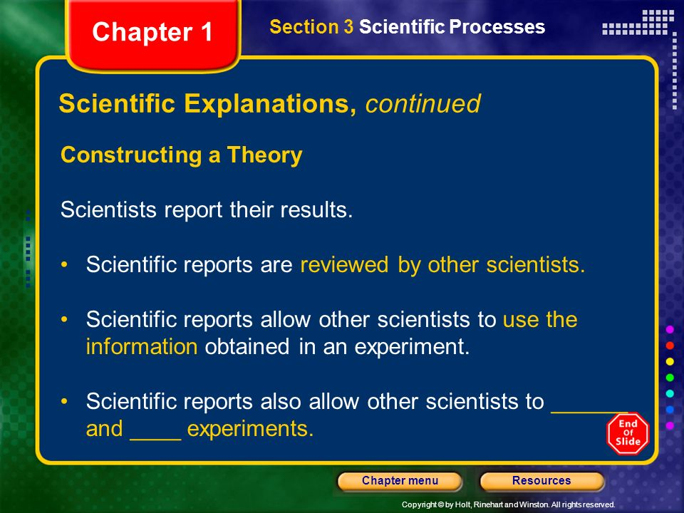 Scientific Explanations, continued