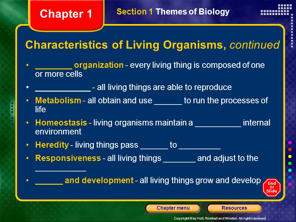 Characteristics of Living Organisms, continued