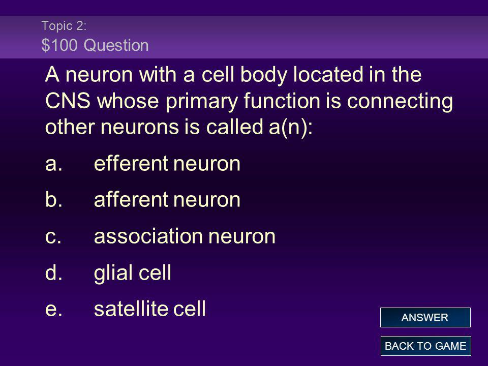 Topic 2: $100 Question A neuron with a cell body located in the CNS whose primary function is connecting other neurons is called a(n):